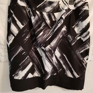 Black, Cream & Purple A-line Skirt